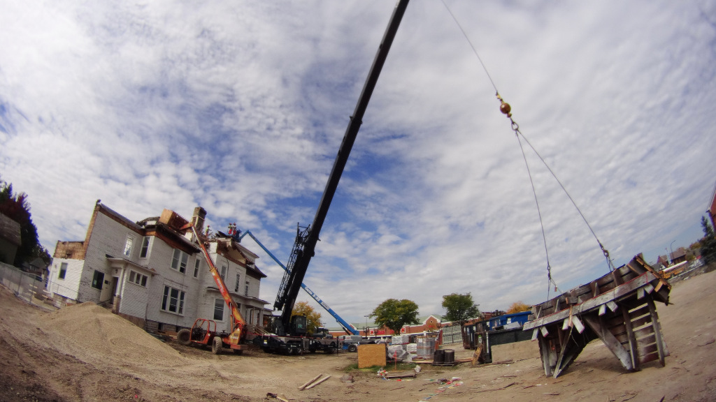Barrington's White House roof is removed one section at a time.